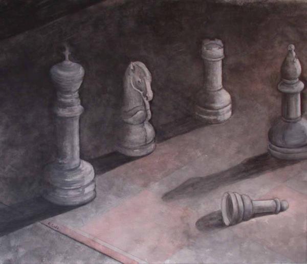 Fallen Chessman Print by Sandy Clift