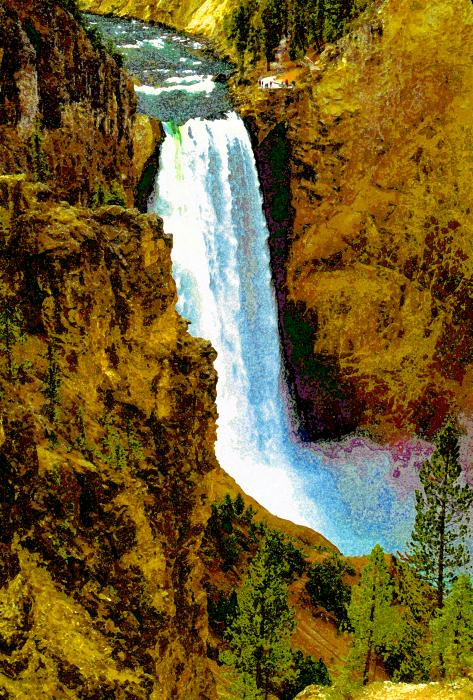 Falls Of The Yellowstone Print by David Lee Thompson