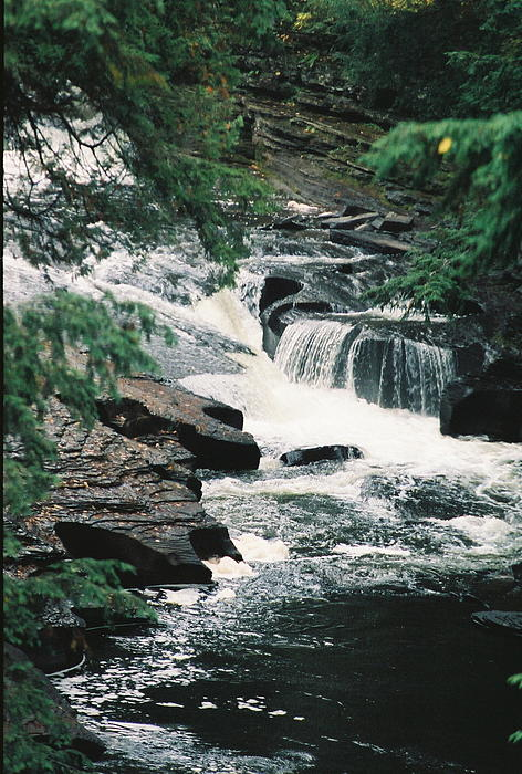 Falls On Presque Isle River Print by C E McConnell