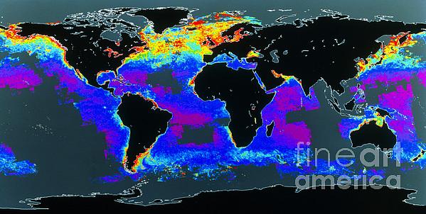 False-col Satellite Image Of Worlds Print by Dr. Gene Feldman, NASA Goddard Space Flight Center