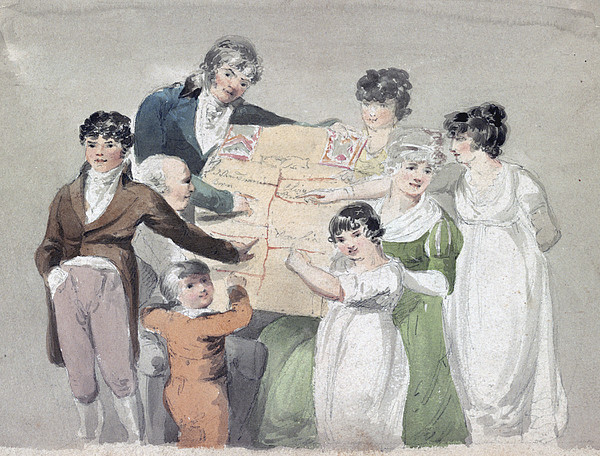 Family Group - Smith, His Wife And Six Print by Everett
