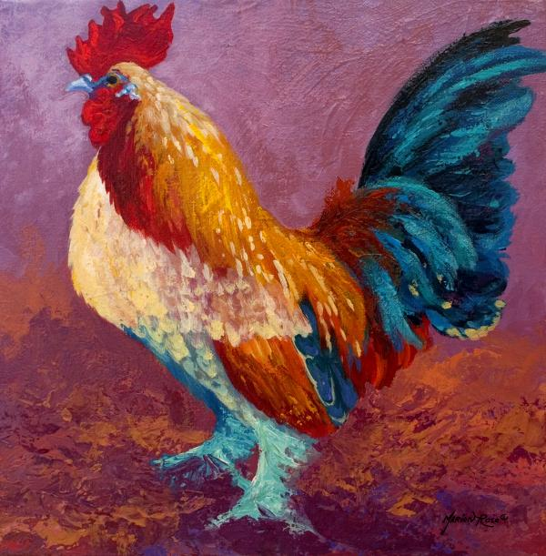 Fancy Pants - Rooster Print by Marion Rose