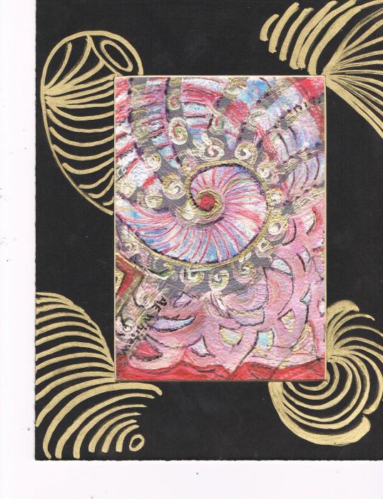 Fancy Shell With Golden Rings Print by Anne-Elizabeth Whiteway