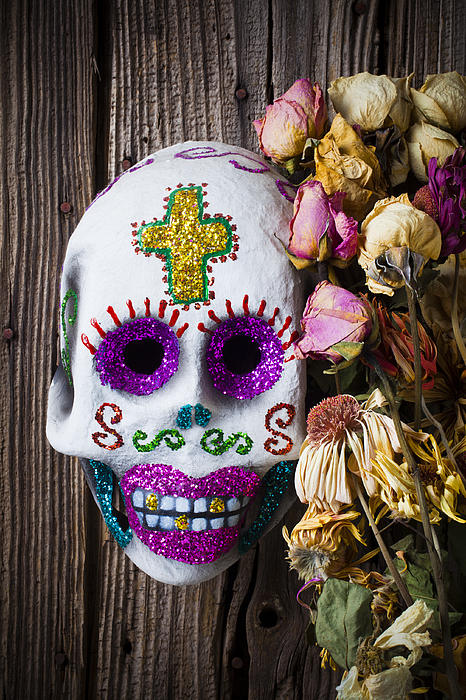 Fancy Skull And Dead Flowers Print by Garry Gay