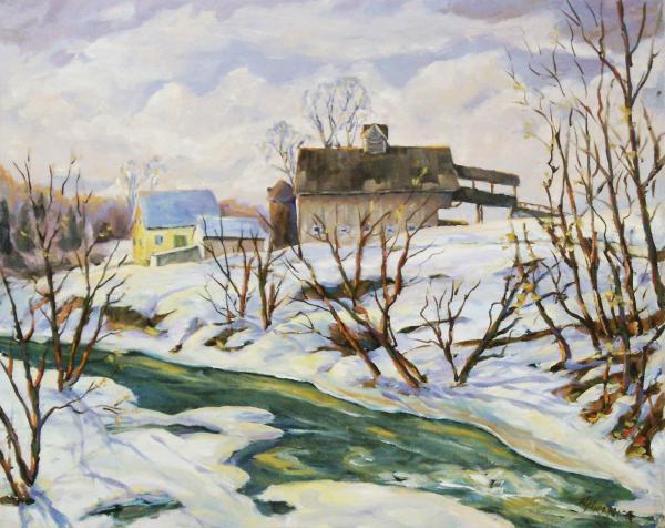 Farm In Winter Print by Richard T Pranke