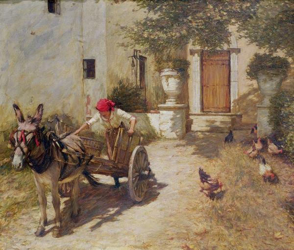 Farm Yard Scene Print by Henry Herbert La Thangue