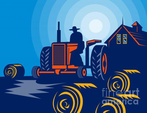 Farmer Driving Vintage Tractor Print by Aloysius Patrimonio