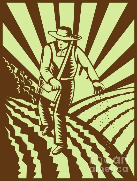 Farmer Sowing Seeds  Print by Aloysius Patrimonio