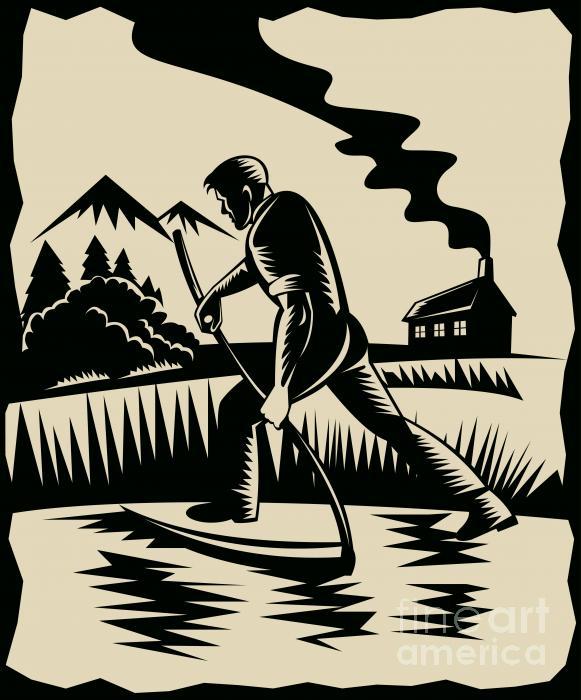 Farmer With Scythe Print by Aloysius Patrimonio