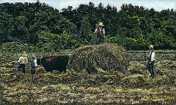 Farmers Haying Print by Robert Goudreau