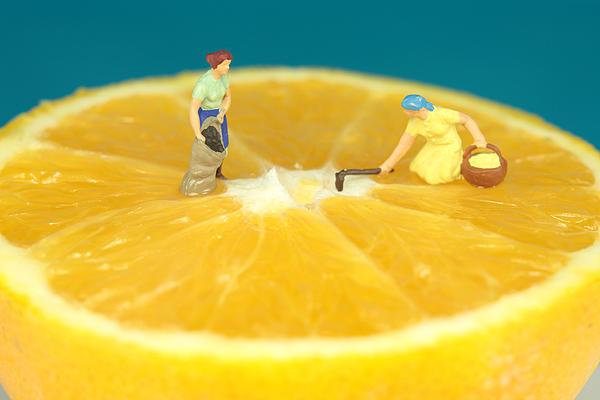 Farmers On Orange Print by Paul Ge