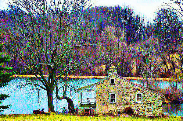 Farmhouse By The Lake Print by Bill Cannon
