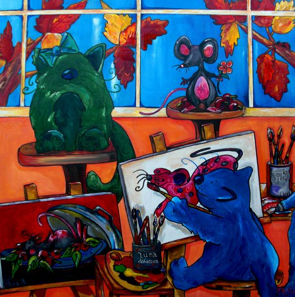 Fat Cats Take Over My Art Studio Print by Patti Schermerhorn