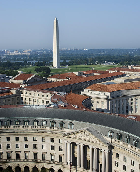 Federal Buildings - The Washington Monument And The National Mall - Washington Dc Print by Brendan Reals