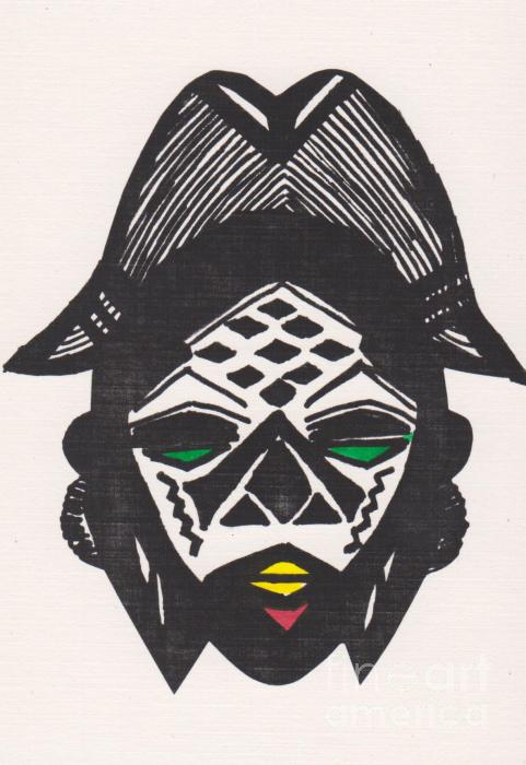 Female Ancestral Mask Of The Mpongue Of The Congo Drawing  - Female Ancestral Mask Of The Mpongue Of The Congo Fine Art Print