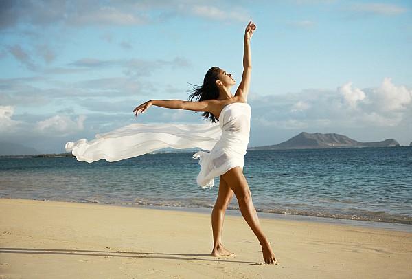 Female Dancer On Beach By Brandon Tabiolo