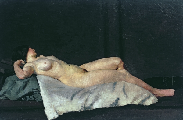Female Figure Lying On Her Back Print by Dora Carrington