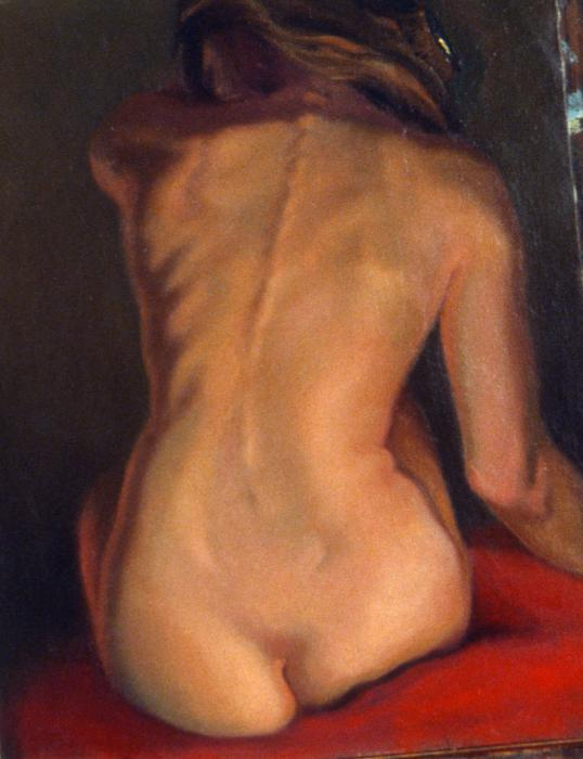 female nude   back david olander Abstract nude painting