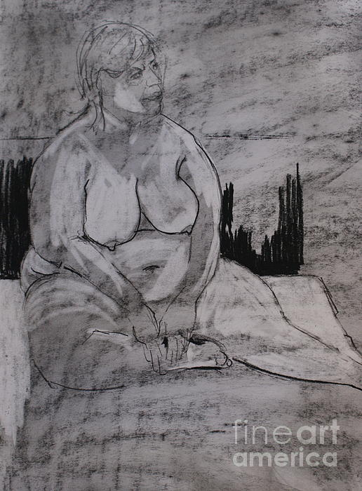 Female Nude Seated Print by Joanne Claxton