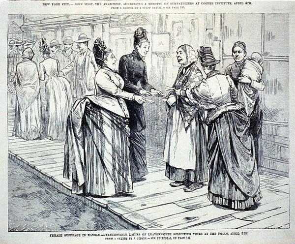 Female Suffrage In Kansas. Ladies Print by Everett