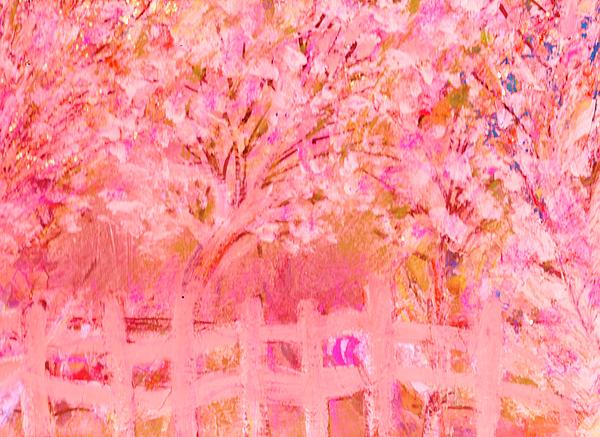 Fence And Trees On Another Day Print by Anne-Elizabeth Whiteway