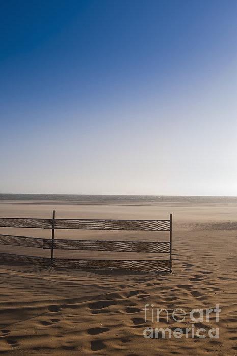 Fence On Beach Print by Sam Bloomberg-rissman