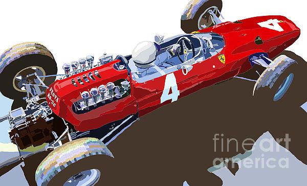 Ferrari 158 F1 1965 Dutch Gp Lorenzo Bondini Print by Yuriy  Shevchuk