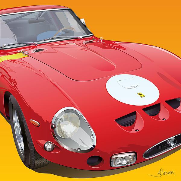 Ferrari Gto Detail Print by Alain Jamar