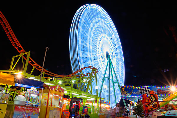 Ferris Wheel At Night Print by Stylianos Kleanthous