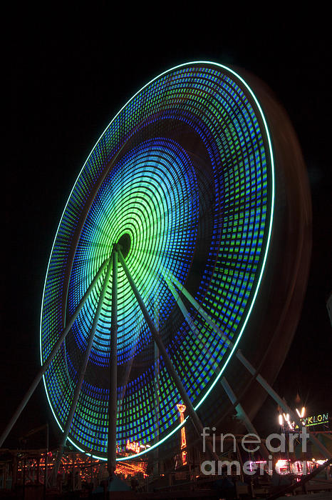 Darleen Stry - Ferris Wheel lit Shades of Green and Blue