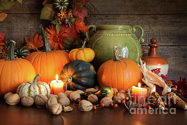 Festive Autumn Variety Of Gourds And Pumpkins  Print by Sandra Cunningham