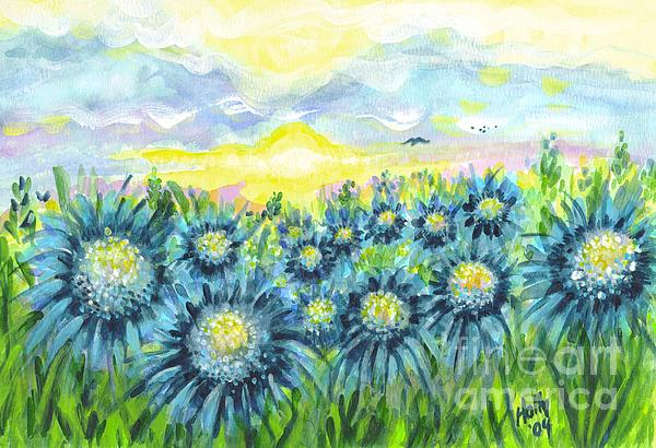 Field Of Blue Flowers Print by Holly Carmichael