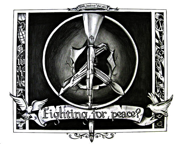 Fighting for peace drawing