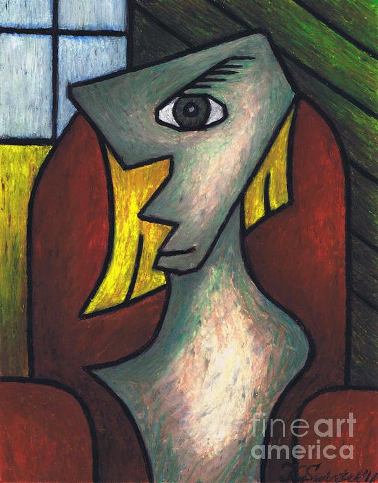 Figure Sitting On Red Chair Print by Kamil Swiatek