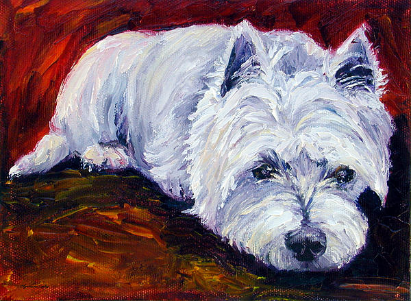 Fire Glow - West Highland White Terrier Print by Lyn Cook
