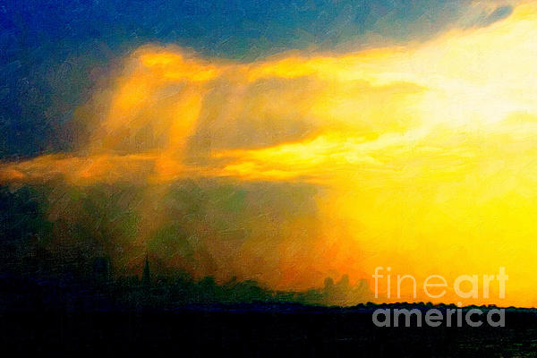 Fire In The City Print by Wingsdomain Art and Photography