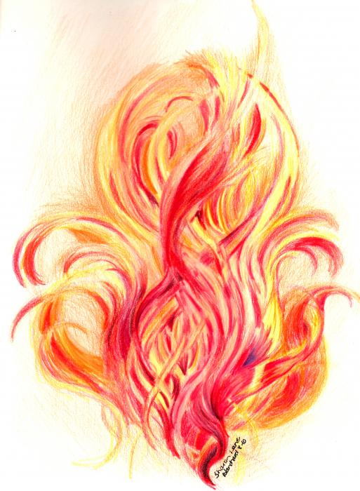 Fire  Drawing  - Fire  Fine Art Print