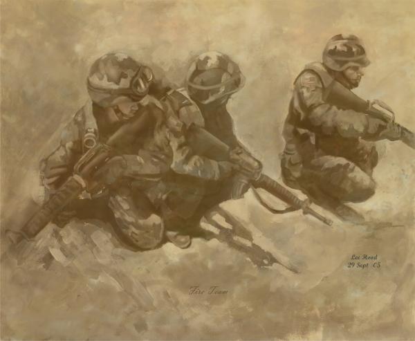 Fire Team Print by Lee Hood