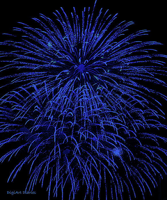 Firework Blues Print by DigiArt Diaries by Vicky B Fuller