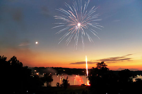 Fireworks And Sunset Print by Amber Flowers