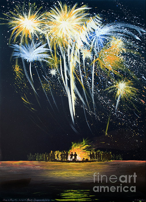 Fireworks Bonfire On The West Bar Print by Charles Harden