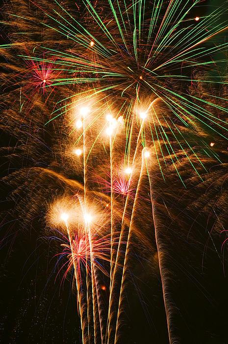 Fireworks In Night Sky Print by Garry Gay