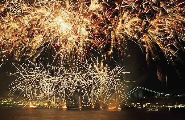Fireworks Over Harbour Print by Axiom Photographic