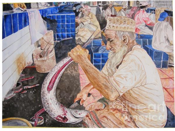 Fish Market Disemboweling Print by Ciocan Tudor-cosmin