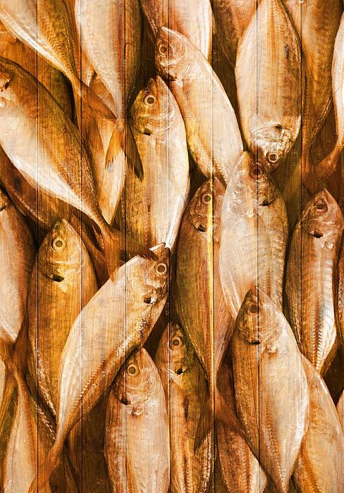 Fish Pattern On Wood Print by Setsiri Silapasuwanchai