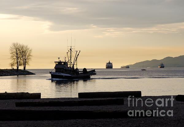 Fisherman Home Returning To Port From The Inside Passage Vancouver Bc Canada Print by Andy Smy