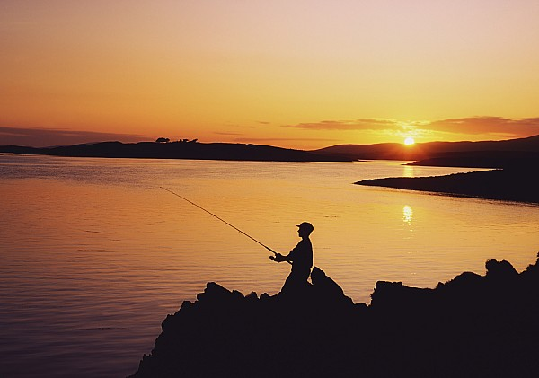 Fishing At Sunset, Roaring Water Bay Print by The Irish Image Collection