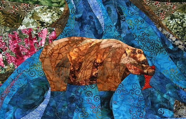 Fishing Bear Print by Linda Beach