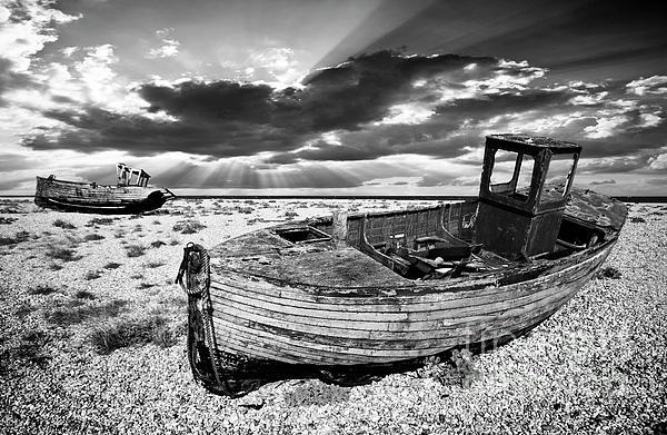 Fishing Boat Graveyard Print by Meirion Matthias