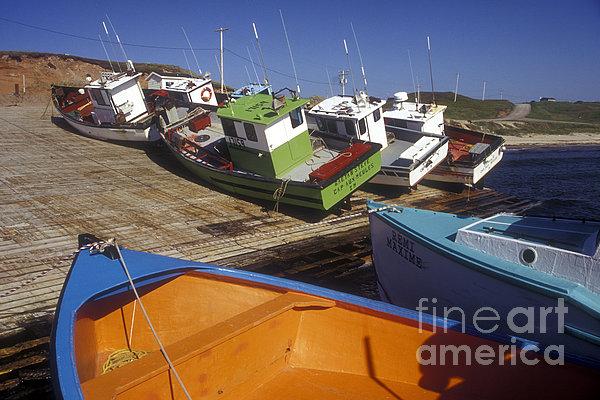 Fishing Boats - Magdalen Islands Print by Carol Barrington